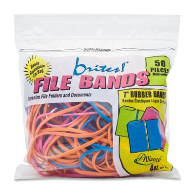 Alliance Rubber File Bands, 7&quot;x1/8&quot;, 50/BG, Assorted