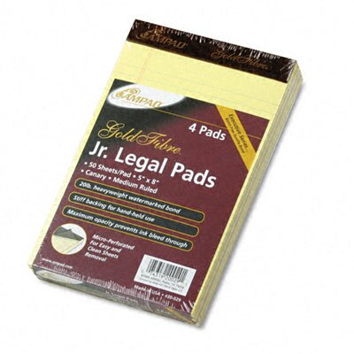 AMPAD Corporation Gold Fibre Writing Pads, Jr. Legal Rule, 5 X 8, 4 50-Sheet Pads/Pack