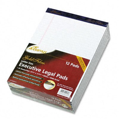 AMPAD Corporation Gold Fibre Writing Pads, Legal/Wide Rule, Letter, White, 50 Sheets, 12-Pack
