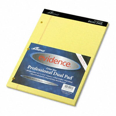 AMPAD Corporation Evidence Dual Ruled Pad, Legal/Wide Rule, 8-1/2 X 11-3/4, 100 Sheets
