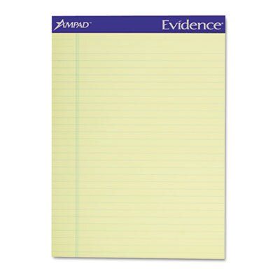AMPAD Corporation Evidence Recycled Perf Top Pads, Legal/Wide Rule, Letter, 50-Sheet, 12/Pack