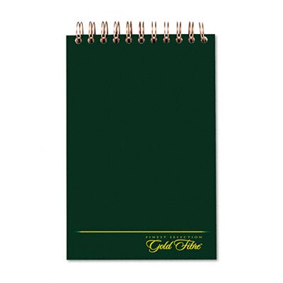 AMPAD Corporation Gold Fibre Spiral Steno Book, Gregg Rule, 6 x 9, White/GN, 144 Sheets/Pad