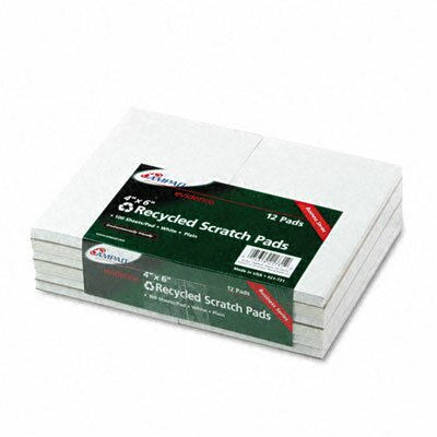 AMPAD Corporation Recycled Scratch Pad Notebook, Unruled, 3 X 5, We, 100-Sheet, 12/Pack