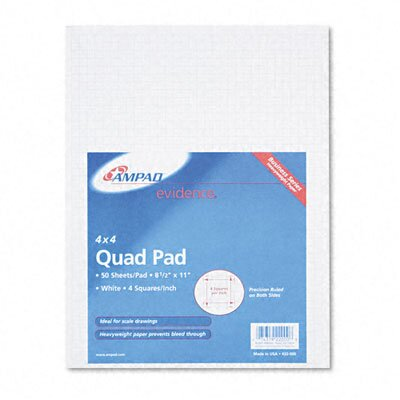 AMPAD Corporation 20lb Quadrille Pad with 4 Squares/Inch, Letter, White, 50 Sheets