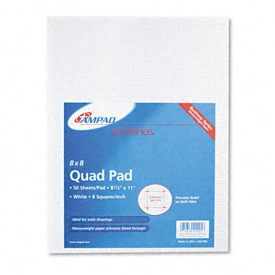 AMPAD Corporation 20Lb Quadrille Pad with 8 Squares/Inch, Letter, 50 Sheets/Pad