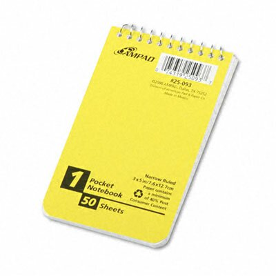AMPAD Corporation Wirebound Pocket Memo Book, College/Narrow Rule, 3 x 5, WE, 50 Sheets/pad