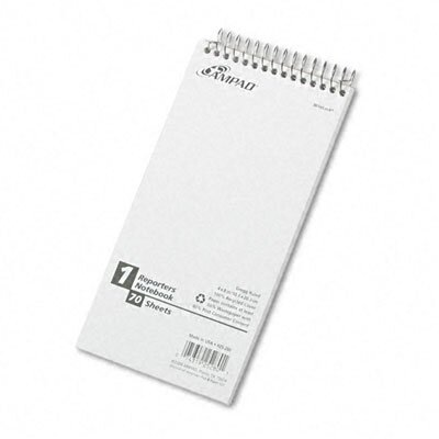 AMPAD Corporation Reporter Spiral Notebook, Gregg Rule, 4 x 8, White, 70 Sheets