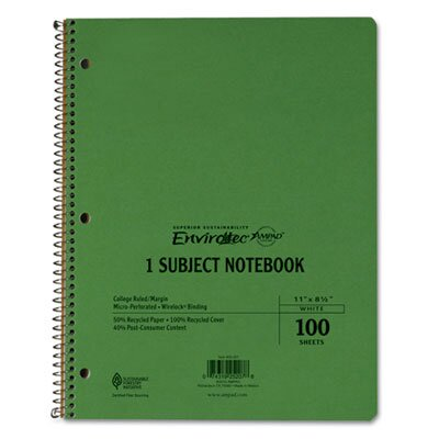 AMPAD Corporation Earthwise By Oxford Wirelock Subject Notebook, College/Med Rule, 8-1/2 X 11, We, 100 Sheets
