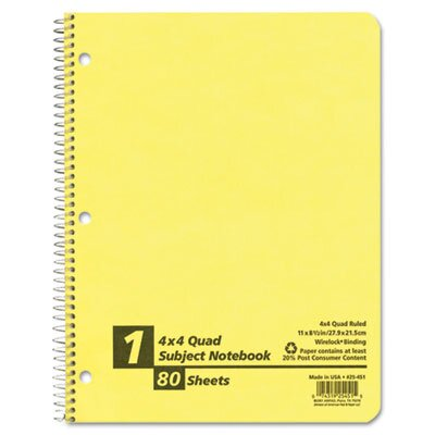 AMPAD Corporation Earthwise By Oxford Wirelock Subject Notebook, Quadrille Rule, 8-1/2 X 11, We, 80 Sheets/Pad