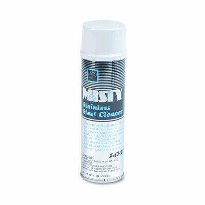 AmRep Misty Stainless Steel Cleaner & Polish, Lemon Scent, 15 Oz. Aerosol Can, 12/Carton