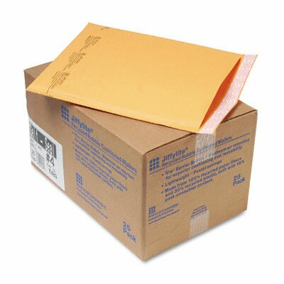 Sealed Air Corporation Jiffylite Self-Seal Mailer, Side Seam, #4, Golden Brown, 25/carton