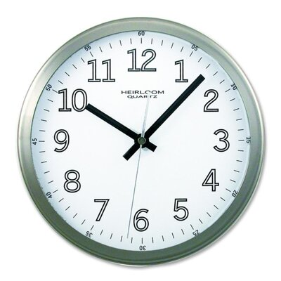 "Artistic Products LLC Wall Clock, 9"" Round, Arabic Numerals, Silver/White"