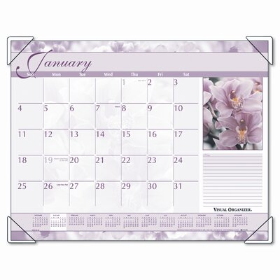 At-A-Glance Antique Floral Color Photographic Monthly Desk Pad Calendar, 22 x 17, 2013