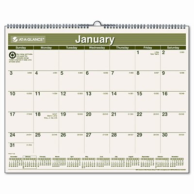 At-A-Glance Recycled Monthly Wall Calendar, 12 Month (Jan-Dec), 15 x 12, 2013