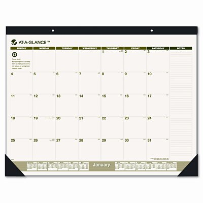 At-A-Glance Recycled Monthly Two-Color Desk Pad Calendar, 12 Month (Jan-Dec), 22 x 17, 2013