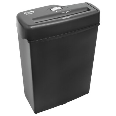 Aurora 6 Sheet Light Duty Strip Cut Shredder in Black