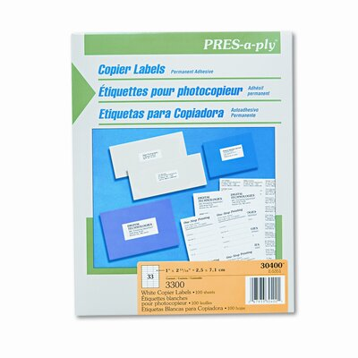 Avery Consumer Products Pres-A-Ply Copier Labels, 3300/Box