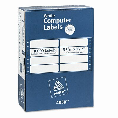 Avery Consumer Products Dot Matrix Printer 2 Across Address Labels, 10000/Box