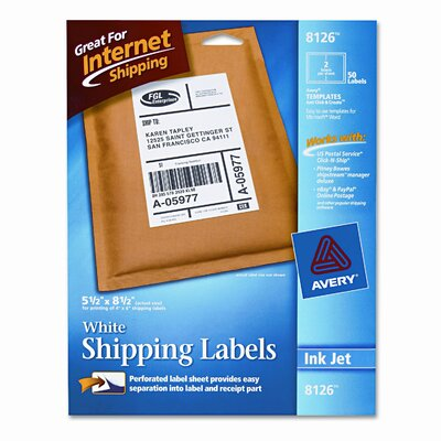 Avery Consumer Products Shipping Labels with Trueblock Technology, 50/Pack
