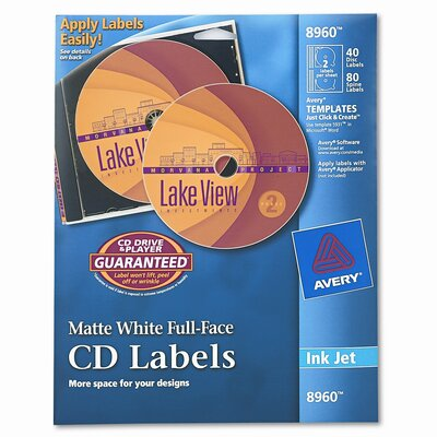 Avery Consumer Products Inkjet Full-Face Cd Labels (40/Pack)