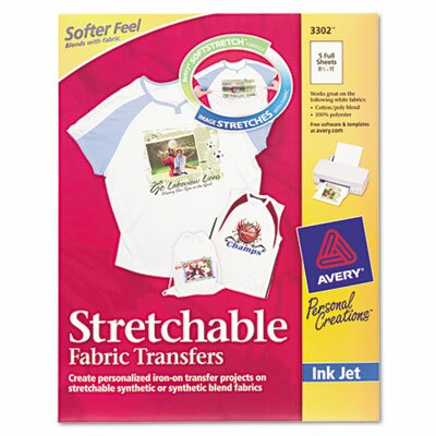 Avery Consumer Products Personal Creations Inkjet T-Shirt Transfer, 8-1/2 X 11, 5/Pack