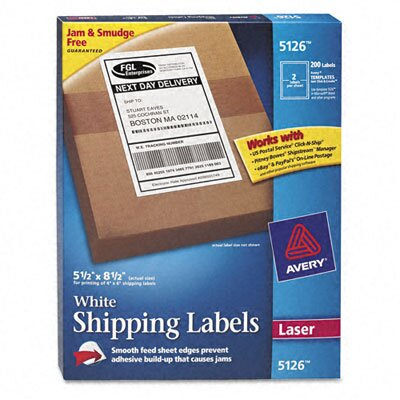 Avery Consumer Products Shipping Labels with Trueblock Technology, 200/Box