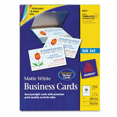 Avery Consumer Products 8371 Inkjet Matte Business Cards, 10/Sheet (250/Pack)