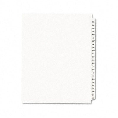Avery Consumer Products Avery-Style Legal Side Tab Divider, Title: 101-125, Letter, White, One Set