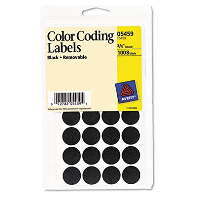 Avery Consumer Products Self-Adhesive Removable Labels, 3/4in dia, Black, 1008/Pack                                                                  