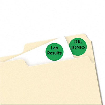 Avery Consumer Products Print/Write Self-Adhesive Removable Labels, 3/4 dia, Green, 1008/Pack