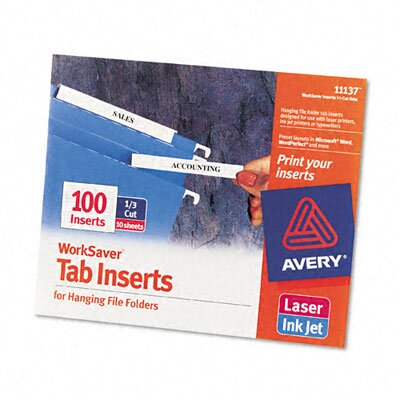 Avery Consumer Products Laser/Inkjet Hanging File Folder Inserts (100/Pack)