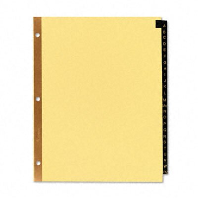 Avery Consumer Products Gold Reinforced Leather Tab Dividers, 25-Tab, A-Z, Letter, Black, 25 per Set