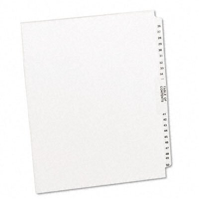 Avery Consumer Products Avery-Style Legal Side Tab Divider, Title: 26-50, Letter, White, One Set