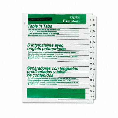 Avery Consumer Products Office Essentials Office Essentials Table 'N Tabs Dividers, 15-Tab, 1-15, Letter, 1 Set