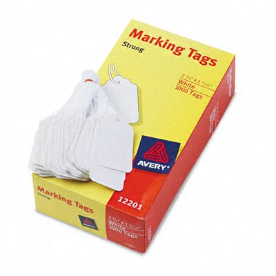 Avery Consumer Products Price Tags, Paper/Twine, 2-3/4 x 1-3/4, White, 1000 per Box                                                                  