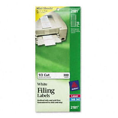 Avery Consumer Products File Folder Labels On Mini-Sheets, 2/3 X 3-7/16, 300/Pack