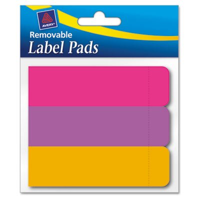 Avery Consumer Products Removable Label Pads, 1 x 3, Assorted, 120/Pack