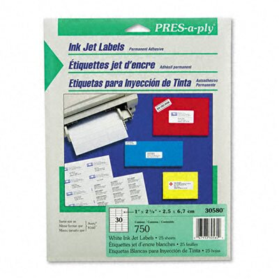 Avery Consumer Products Pres-A-Ply Inkjet Address Labels, 750/Pack