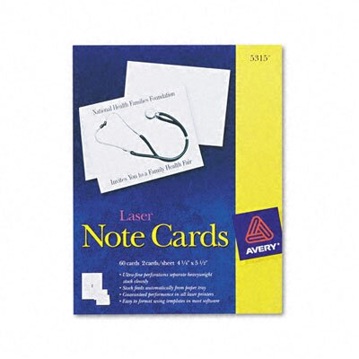Avery Consumer Products Printer Compatible Cards, 4-1/4 x 5-1/2, 2 per Sheet, 60 per Box with Envelopes