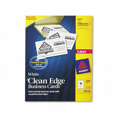 Avery Consumer Products Clean Edge Laser Business Cards, 10/Sheet, 400/Box