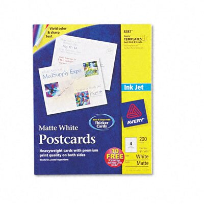 Avery Consumer Products Inkjet-Compatible Postcards (200 Cards/Box)