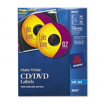 Avery Consumer Products Inkjet CD/DVD Labels (40/Pack)