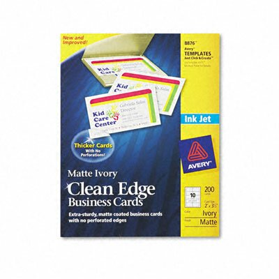 Avery Consumer Products Inkjet Matte Business Cards, 2 X 3 1/2, 10/Sheet, 200/Pack