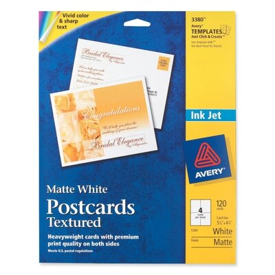 "Avery Consumer Products Post Cards, Textured, Card Size 4-1/4""x5-1/2"", Matte, 120 per Box, White"