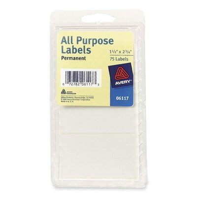 "Avery Consumer Products All-Purpose Labels, Permanent, 1-1/2""x2-3/4"", 75 per Pack, White"