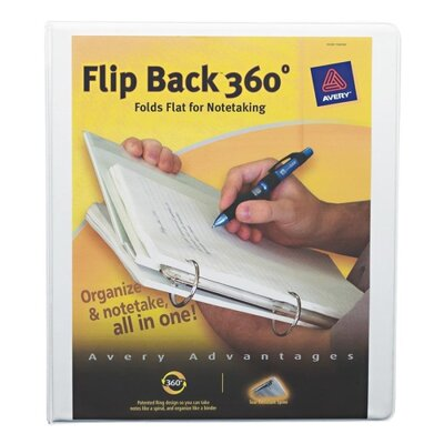 "Avery Consumer Products Flip Back View Binder, w/ Pocket, 1"" Round Ring, White"