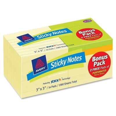 Avery Consumer Products Removable Adhesive Sticky Note (Pack of 12)