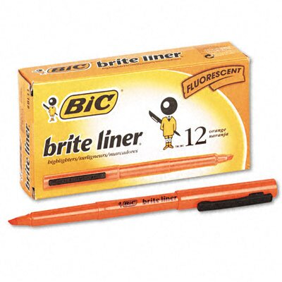 Bic Corporation Chisel Tip Brite Liner Highlighter, 12/Pack