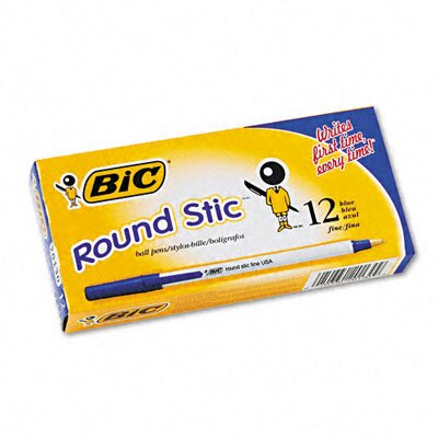 Bic Corporation Round Stic Ballpoint Stick Fine Pen, 12/Pack