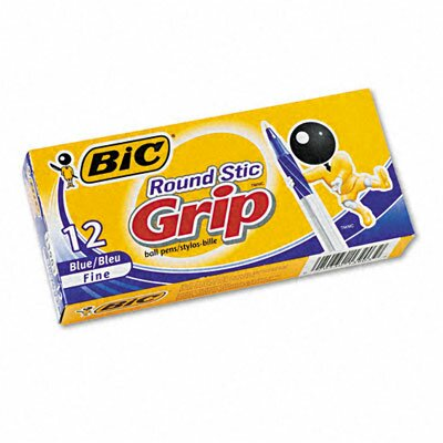 Bic Corporation Round Stic Grip Ballpoint Stick Pen, 12/Pack